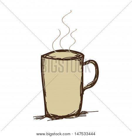 coffee hot mug beverage. caffeine drink. drawn design vector illustration