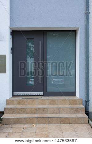 Architecture Modern Entryway Home Door Window Glass Material Entrance