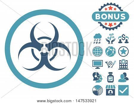 Biohazard Symbol icon with bonus design elements. Vector illustration style is flat iconic bicolor symbols, cyan and blue colors, white background.