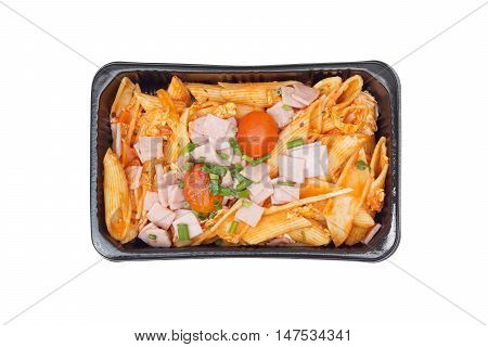 Takeaway food - Macaroni in microwavable plastic box