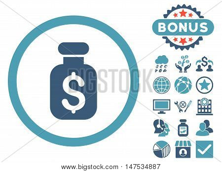 Business Remedy icon with bonus design elements. Vector illustration style is flat iconic bicolor symbols, cyan and blue colors, white background.