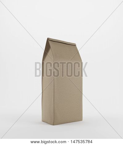 Beige Lunch Paper Bag Standing On White Background