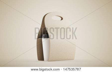 Brown Carton Bag With Coffee Against Beige Background