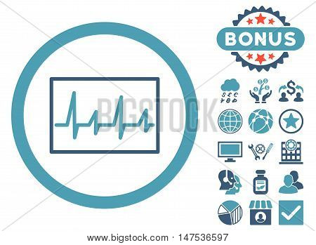 Cardiogram icon with bonus pictures. Vector illustration style is flat iconic bicolor symbols, cyan and blue colors, white background.