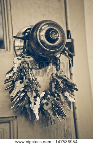 A big bunch of keys hung on a doorknob / Metaphor - look for a needle in a haystack
