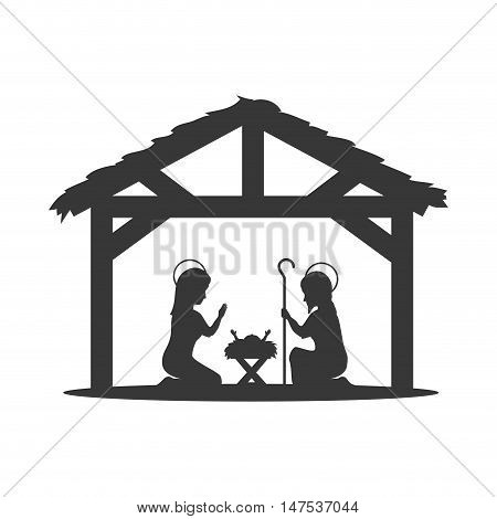 Traditional Christian Christmas Nativity Scene of baby Jesus in the manger with Mary and Joseph in silhouette. vector illustration