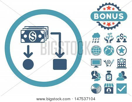 Cashflow icon with bonus elements. Vector illustration style is flat iconic bicolor symbols, cyan and blue colors, white background.