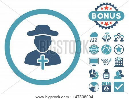 Clergy icon with bonus symbols. Vector illustration style is flat iconic bicolor symbols, cyan and blue colors, white background.
