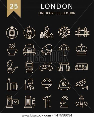 Set vector line icons in flat design London and England with elements for mobile concepts and web apps. Collection modern infographic logo and pictogram.