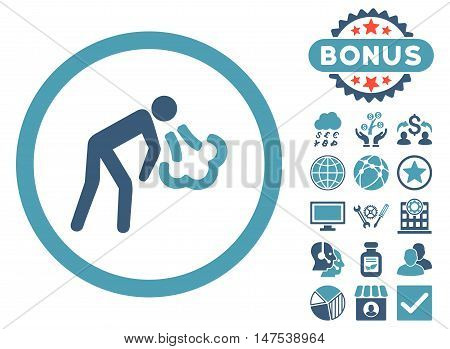 Cough icon with bonus pictures. Vector illustration style is flat iconic bicolor symbols, cyan and blue colors, white background. poster