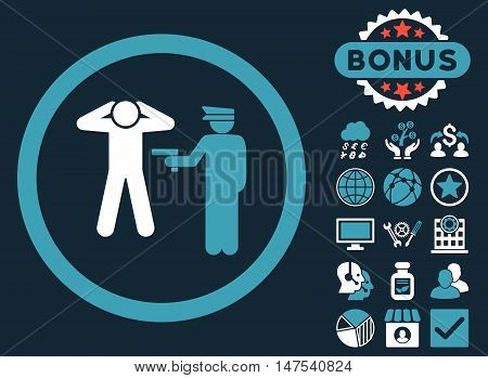 Arrest icon with bonus pictogram. Vector illustration style is flat iconic bicolor symbols, blue and white colors, dark blue background.