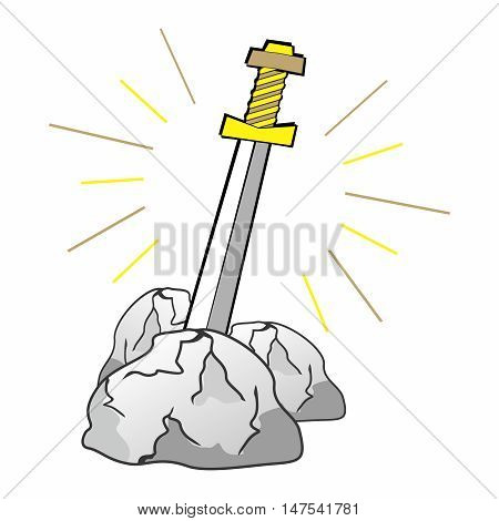 Vector Divine Legendary Sword of Excalibur, Sword in Stone Theme of King Arthur Cartoon Illustration