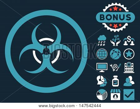 Bio Hazard icon with bonus elements. Vector illustration style is flat iconic bicolor symbols, blue and white colors, dark blue background.