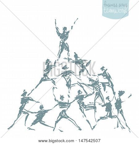 People hold hands in a spirit of togetherness. Success teamwork cooperation winning. Concept vector illustration sketch