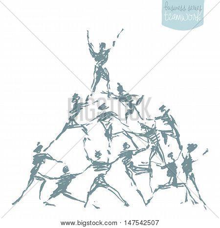 People hold hands in a spirit of togetherness. Success teamwork cooperation winning. Concept vector illustration sketch
