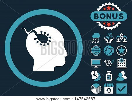 Brain Parasite icon with bonus pictures. Vector illustration style is flat iconic bicolor symbols, blue and white colors, dark blue background.