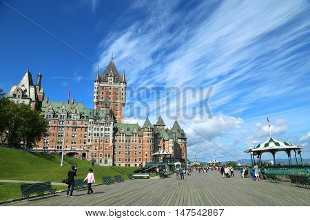 QUEBEC-CANADA 16 sept 2016:  Scenic view of Chateau Frontenac and dufferin terrace in Quebec city, in Canada