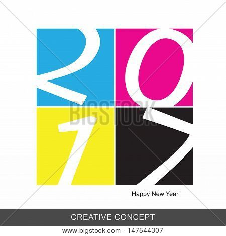 2017 Happy New Year CMYK Printing background Vector illustration