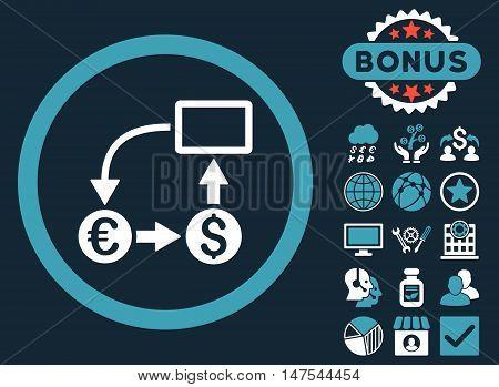 Cashflow Euro Exchange icon with bonus design elements. Vector illustration style is flat iconic bicolor symbols, blue and white colors, dark blue background.