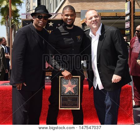 LOS ANGELES - SEP 07:  Terry Lewis, Usher and Harvey Weinstein arrives to the Walk of Fame honors Usher on September 07, 2016 in Hollywood, CA