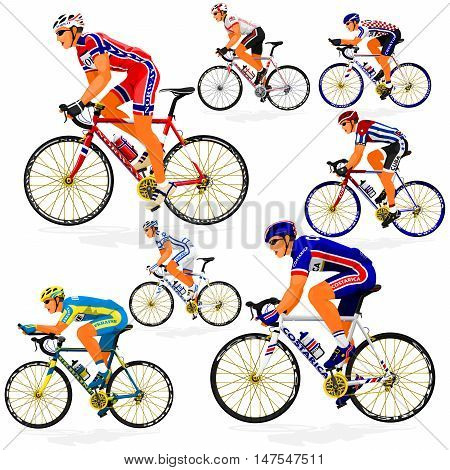 National Cyclist  of Costa Rica,Croatia,Cuba,England,Israel,Norway,Ukraine on transparent background