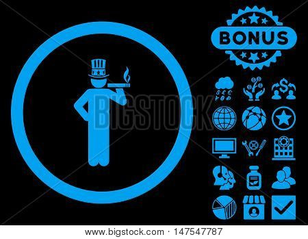 American Capitalist icon with bonus design elements. Vector illustration style is flat iconic symbols, blue color, black background.