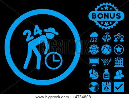 Around the Clock Work icon with bonus images. Vector illustration style is flat iconic symbols, blue color, black background.