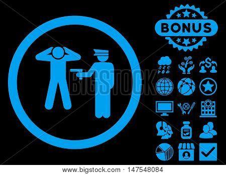 Arrest icon with bonus symbols. Vector illustration style is flat iconic symbols, blue color, black background.