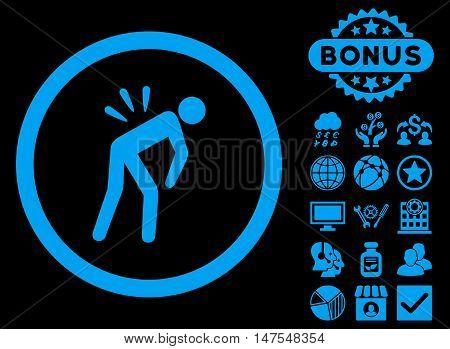 Backache icon with bonus images. Vector illustration style is flat iconic symbols, blue color, black background.