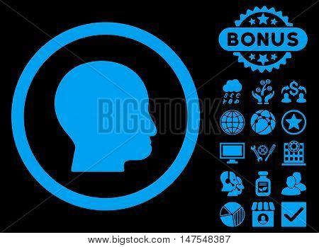 Bald Head icon with bonus elements. Vector illustration style is flat iconic symbols, blue color, black background.