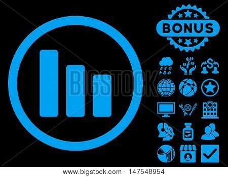 Bar Chart Decrease icon with bonus pictures. Vector illustration style is flat iconic symbols, blue color, black background.