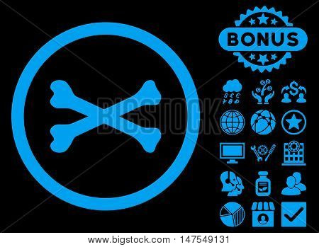 Bones Cross icon with bonus elements. Vector illustration style is flat iconic symbols, blue color, black background.