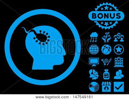 Brain Parasite icon with bonus symbols. Vector illustration style is flat iconic symbols, blue color, black background.