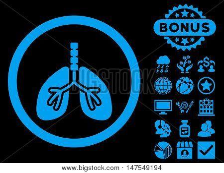 Breathe System icon with bonus pictogram. Vector illustration style is flat iconic symbols, blue color, black background.