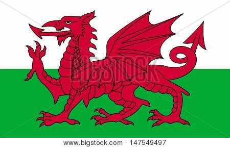 Flag of Wales in correct size proportion colors. Accurate official standard dimensions. Welsh national flag. United Kingdom patriotic symbol. UK banner. British background design. Red dragon. Vector