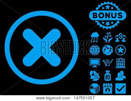 Cancel icon with bonus images. Vector illustration style is flat iconic symbols, blue color, black background.