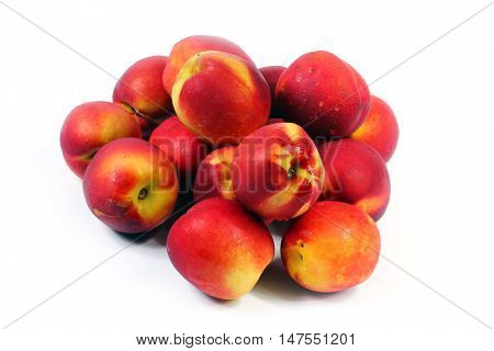 beautiful crop of ripe juicy fruit of a peach