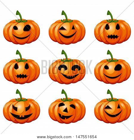 Set pumpkins for Halloween. Set of spooky halloween jack o lanterns. Halloween pumpkin orange scary holiday jack o lanterns symbol. Funny halloween pumpkin jack o lantern face vector set.