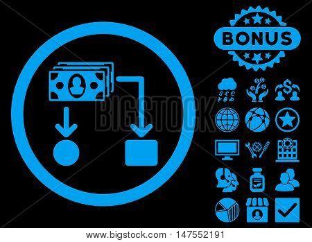 Cashflow icon with bonus elements. Vector illustration style is flat iconic symbols, blue color, black background.
