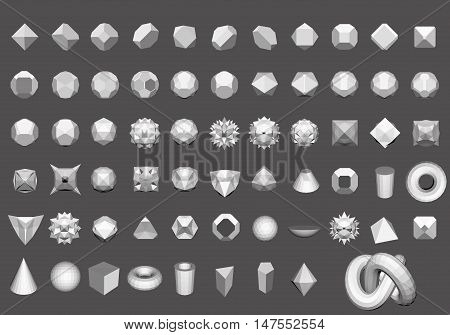 Set of 64 geometric shapes. Polygon. Figures for the logo. Vector illustration.