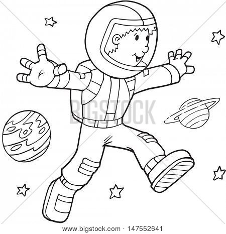Doodle Astronaut Vector Illustration Art