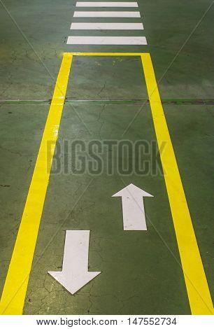 Zebra pedestrian crossing in  automotive industrial factory
