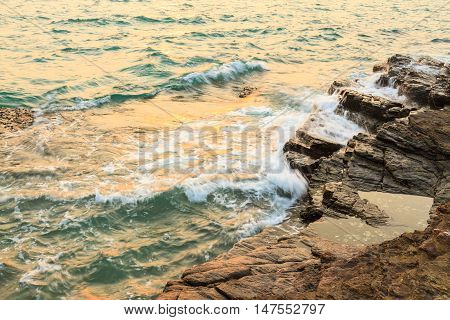 A view of a rocky beach, Thailand.