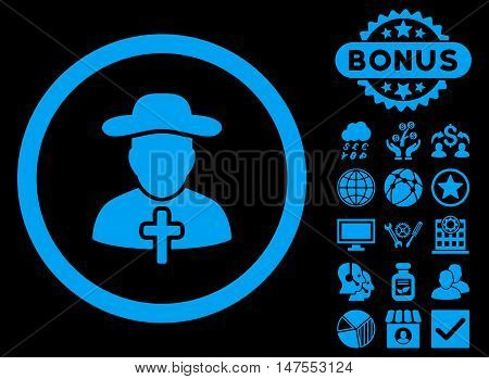 Clergy icon with bonus elements. Vector illustration style is flat iconic symbols, blue color, black background.