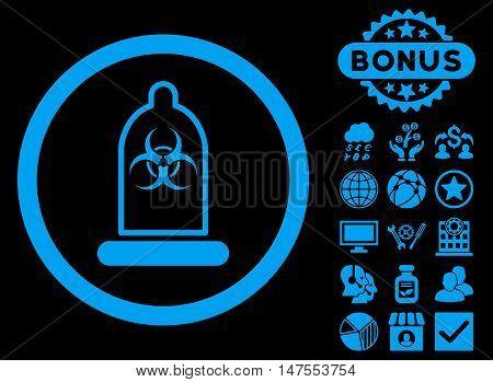 Condom Biohazard icon with bonus pictogram. Vector illustration style is flat iconic symbols, blue color, black background.
