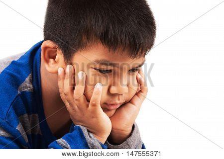 a little asian boy sad and cry