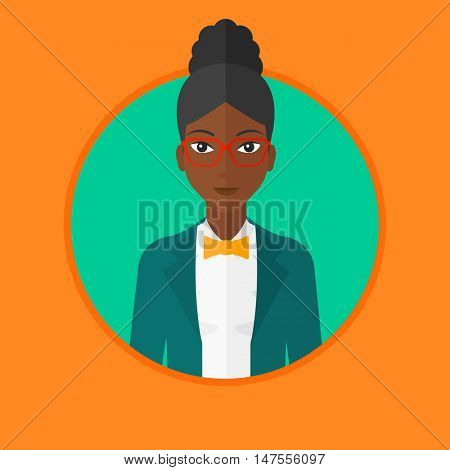 An african-american confident business woman. Young and successful business woman. Vector flat design illustration in the circle isolated on background.