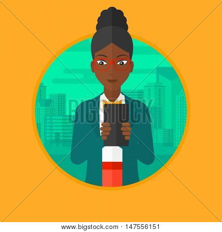 An african-american young business woman using smartphone on a city background. Smiling business woman using smartphone for work. Vector flat design illustration in the circle isolated on background.