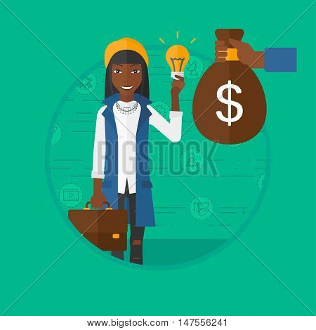 African-american business woman exchanging idea bulb to money bag. Young happy woman having business idea. Business idea concept. Vector flat design illustration in the circle isolated on background.