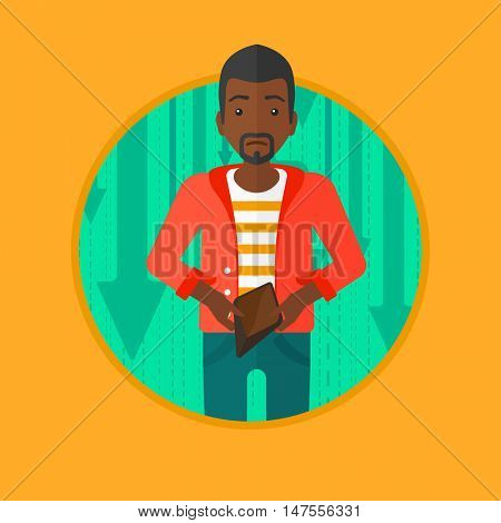 An african-american businessman showing his epmty purse on the background of decreasing chart. Concept of business bankruptcy. Vector flat design illustration in the circle isolated on background.